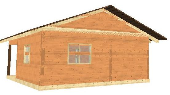 Проект бани 6x5 м с террасой на свайном фундаменте
