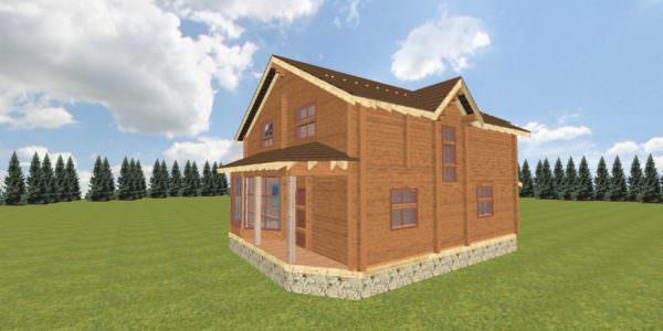 Fasad 2 3 600x300 - Дом из профилированного бруса с гаражом цена