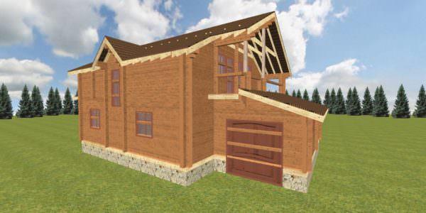 Fasad 3 3 600x300 - Дом из профилированного бруса с гаражом цена
