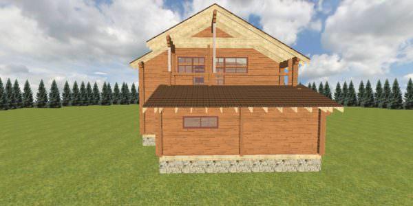 Fasad 4 3 600x300 - Дом из профилированного бруса с гаражом цена