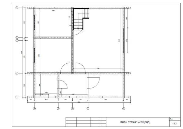 Plan 1 etazha 600x423 - Двухэтажный дачный дом 7,6х7,6 с верандой из профилированного бруса 150х150