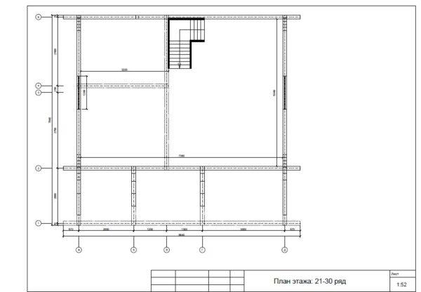 Plan 2 etazha 600x416 - Двухэтажный дачный дом 7,6х7,6 с верандой из профилированного бруса 150х150