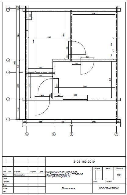 Plan etazha - Баня 6х7 из сухого профилированного бруса 180х180 с фундаментом
