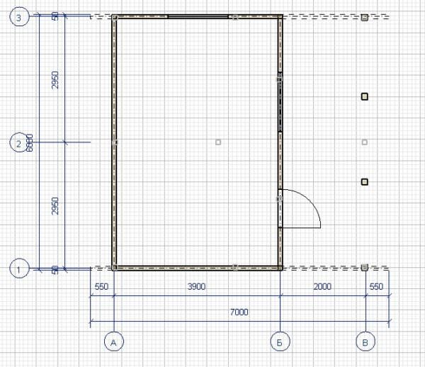 Plan korobki 1 etazh 600x518 - Дачный дом с верандой из профилированного бруса 100x150