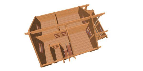 Sverhu 1 2 600x300 - Дом из профилированного бруса с гаражом цена