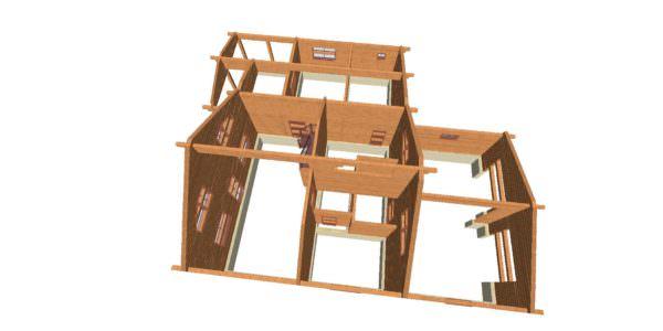 Sverhu 3 600x300 - Домокомплект дома 14,8х17,8 из профилированного бруса 200х200