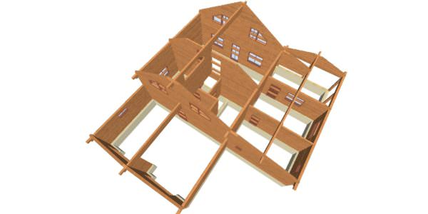 Sverhu 4 600x300 - Домокомплект дома 14,8х17,8 из профилированного бруса 200х200