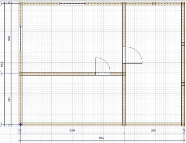 Vid v plane 600x463 - Проект бани 6x5 м с террасой на свайном фундаменте