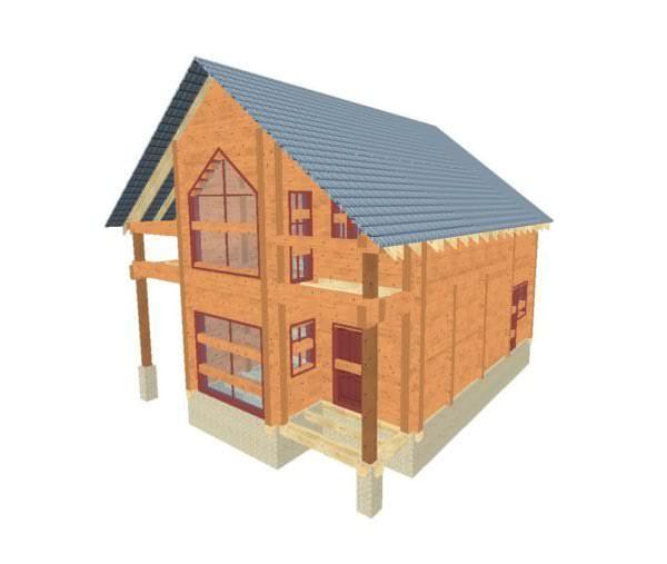 fasad 1 01 600x507 - Проект дома из профилированного бруса 8,5x10м
