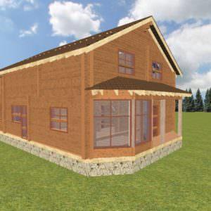 fasad 1 4 300x300 - Баня 6х7 из сухого профилированного бруса 180х180 с фундаментом
