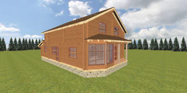 fasad 1 4 600x300 - Баня 6х7 из сухого профилированного бруса 180х180 с фундаментом