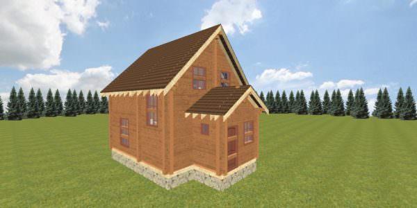 fasad 1 600x300 - Двухэтажный дачный дом 7,6х7,6 с верандой из профилированного бруса 150х150