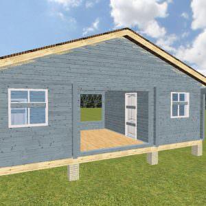 fasad 1 9 300x300 - Баня 4х8 с беседкой и кухней из профилированного бруса 150х150
