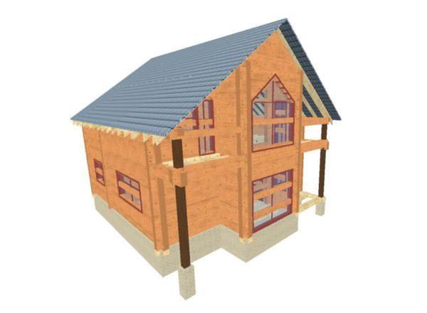 fasad 2 01 600x440 - Проект дома из профилированного бруса 8,5x10м