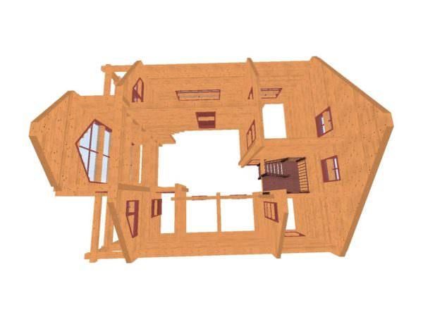 fasad 5 01 600x440 - Проект дома из профилированного бруса 8,5x10м