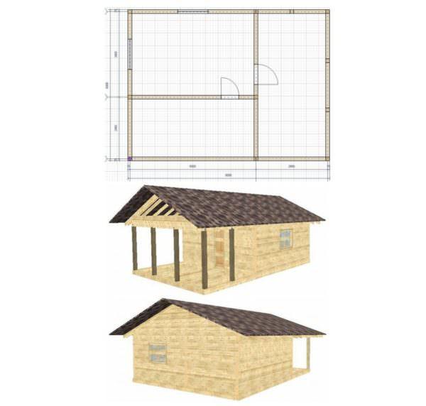 obshhij00 600x572 - Проект бани 6x5 м с террасой на свайном фундаменте