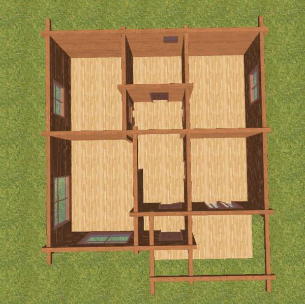 planirovka 600x599 - Проект дома 9х9 из профилированного бруса 180х180 цена