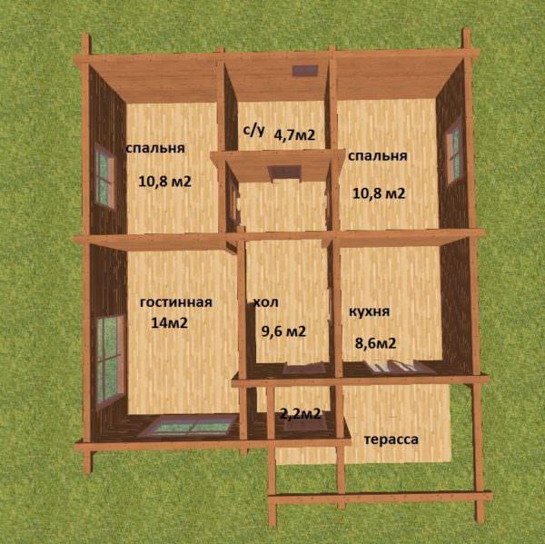 planirovka podpisannaya 600x599 - Проект дома 9х9 из профилированного бруса 180х180 цена
