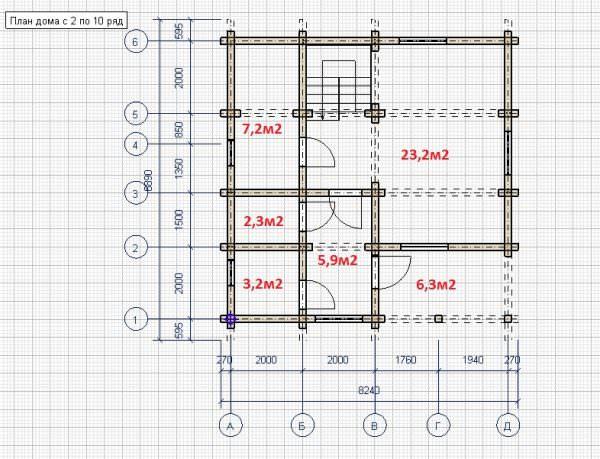 shema 1 etazh 600x459 - Дом 7,7х7,7 из профилированного бруса 200х150