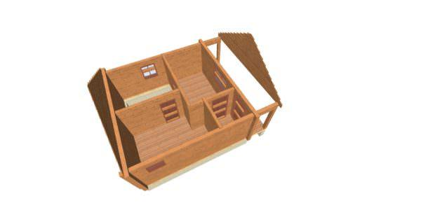 sverhu 1 600x300 - Домокомплект дома 6х9 из профилированного бруса 200х200