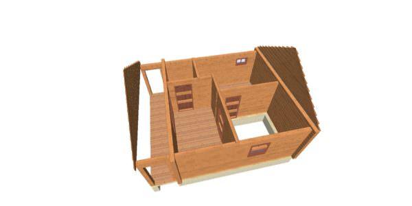 sverhu 2 600x300 - Домокомплект дома 6х9 из профилированного бруса 200х200