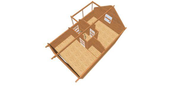 vid sverhu 1 600x300 - Дом 6х9 с террасой из профилированного бруса 150х150