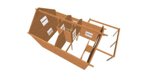 vid sverhu 2 600x300 - Дом 6х9 с террасой из профилированного бруса 150х150