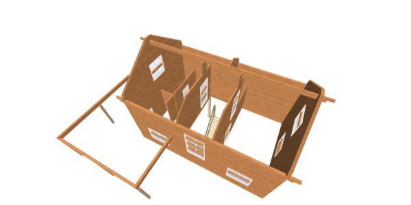 vid sverhu 3 600x300 - Дом 6х9 с террасой из профилированного бруса 150х150
